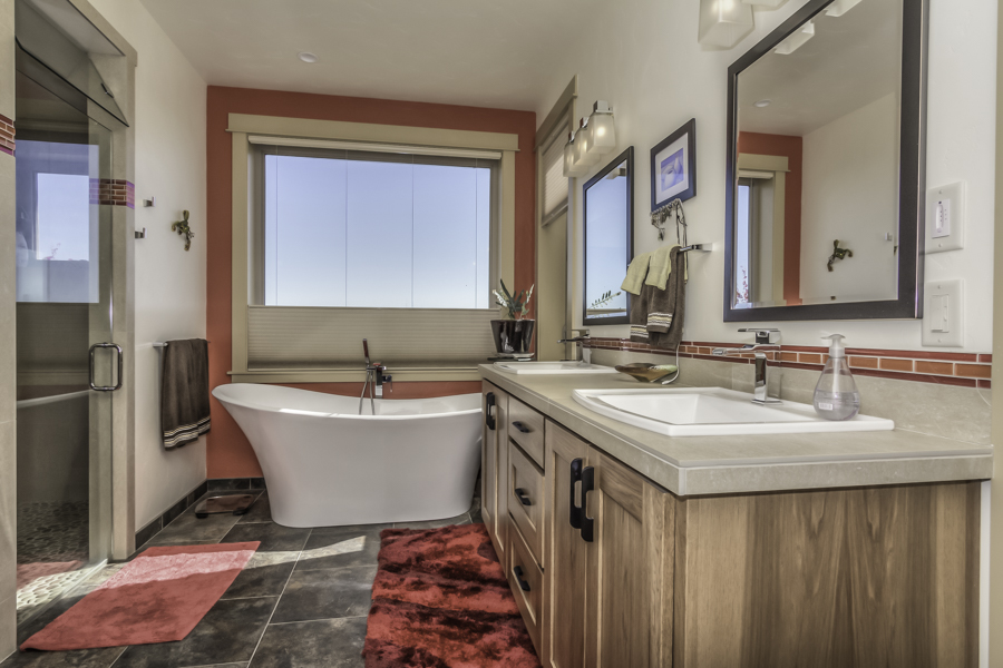 Soaking tub in master bathroom