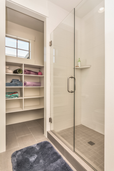 Downstairs shower and walk-in closet
